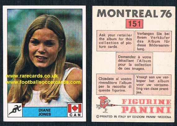 Diane Jones Konihowski Canada gold medal athlete 151 Panini Montreal 76 unused sticker from Italy